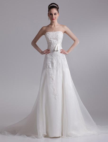 Milanoo Elegant Ivory A-line Strapless Rhinestone Tulle Bridal Wedding Dress