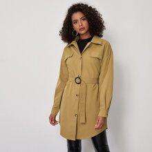 Drop Shoulder Belted Coat