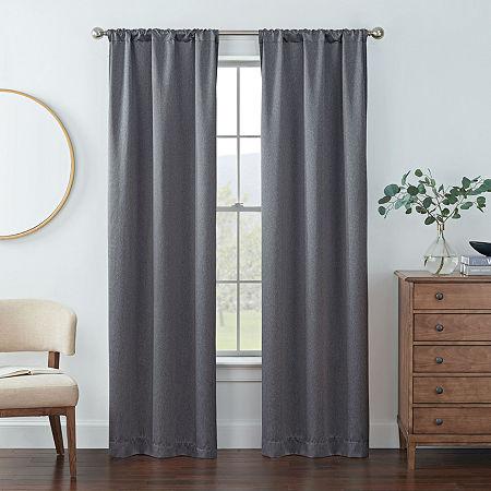 Eclipse Kerry Energy Saving Blackout Rod-Pocket Set of 2 Curtain Panel, One Size , Black