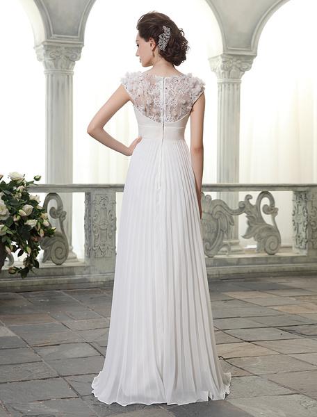 Milanoo Beach Wedding Dresses V Neck Chiffon Summer Bridal Dress Chiffon Flowers Beading Pleated Floor Length Wedding Gown