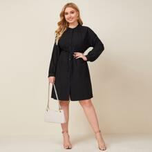 Plus Button Front Raglan Sleeve Belted Dress