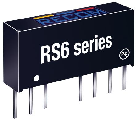 Recom RS6 6W Isolated DC-DC Converter Through Hole, Voltage in 4.5 → 9 V dc, Voltage out ±15V dc