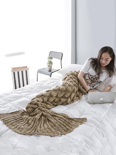 Milanoo Kigurumi Onesie Snuggie Mermaid Pajamas Knitted Sleeping Blanket For Adult Costume Halloween