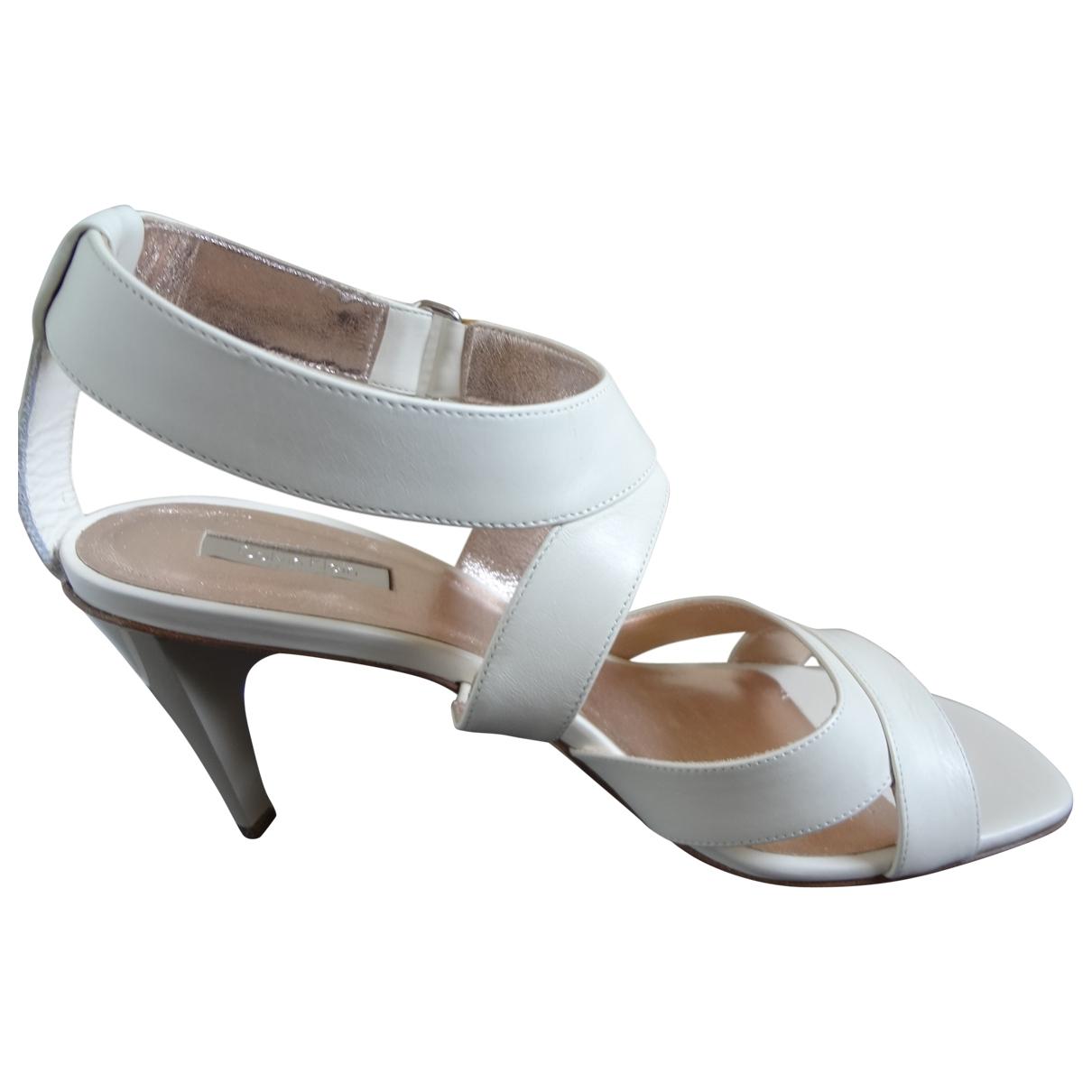 Calvin Klein Collection - Sandales   pour femme en cuir - beige