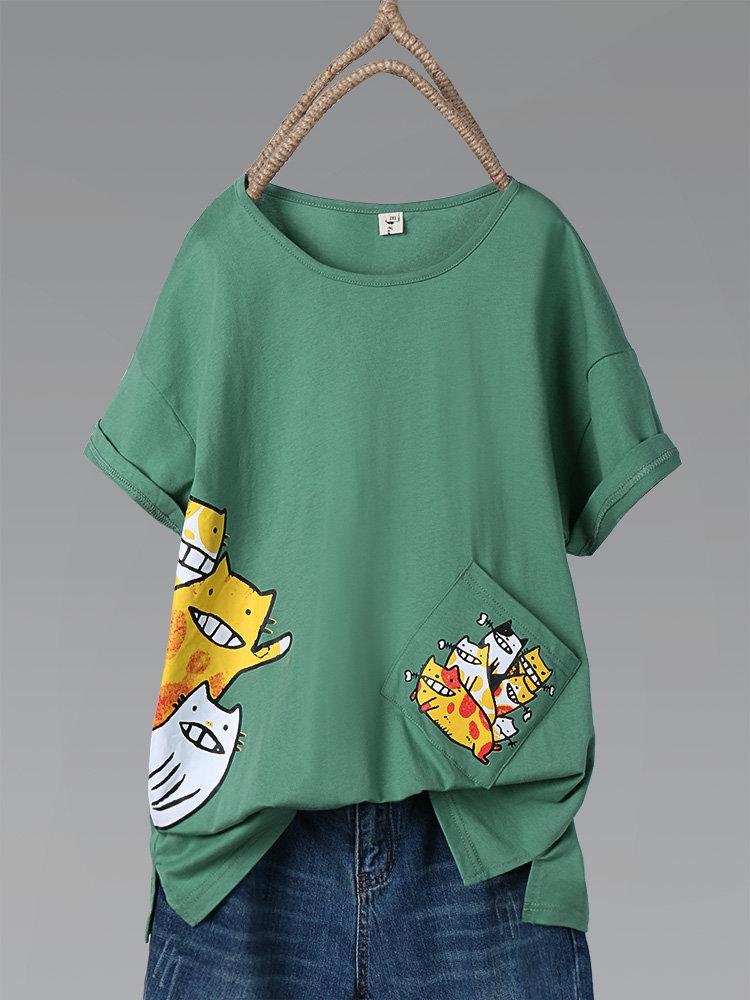 Cute Cartoon Print Short Sleeve Plus Size T-shirt