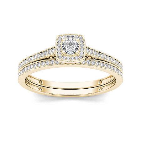 1/3 CT. T.W. Diamond 10K Yellow Gold Bridal Set, 9 , No Color Family