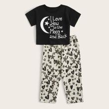 Toddler Boys Slogan & Geo Print PJ Set