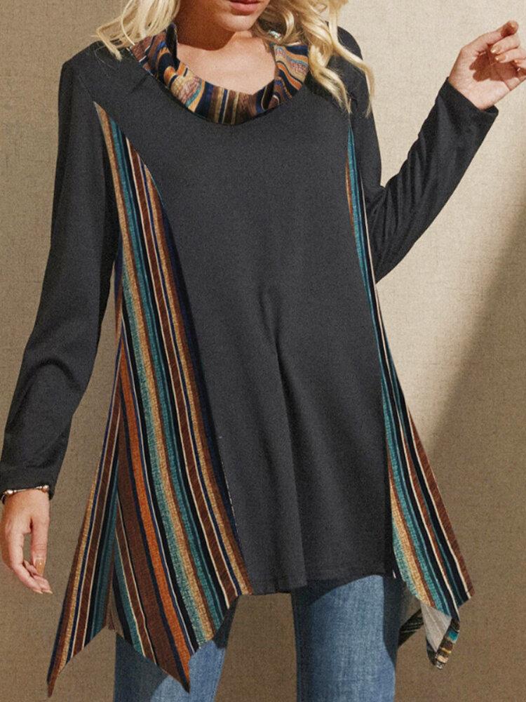 Asymmetrical Hem High-neck Striped Print Long Sleeve Vintage Plus Size Blouse