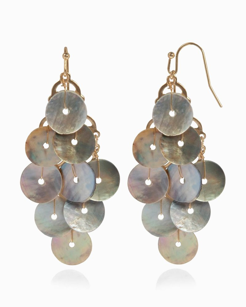 Mother Of Pearl Cascade Disk Earrings
