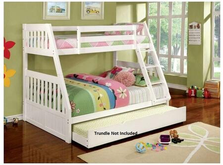 Canberra II Collection CM-BK607WH-BED Twin Over Full Size Bunk Bed with Built-In Angled Ladder  Top and Bottom Slats  Solid Wood and Wood Veneers