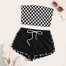 Plus Checkered Tube Top and Drawstring Waist Track Shorts Set
