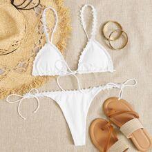 Lace Trim Triangle Tie Side Bikini Swimsuit