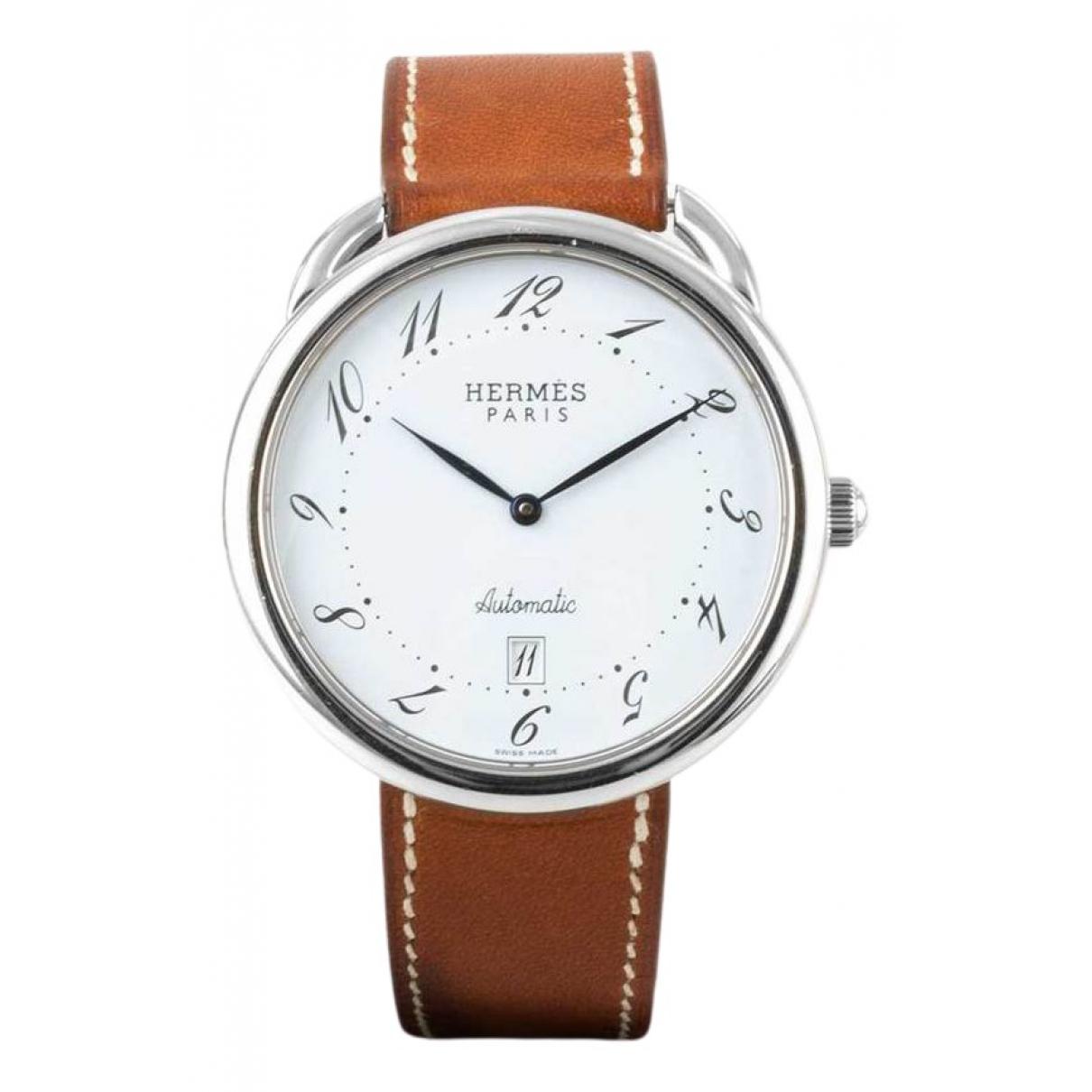 Hermes Arceau Uhr in  Weiss Stahl