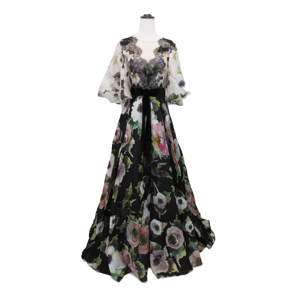 Marchesa \N Kleid in  Schwarz Seide