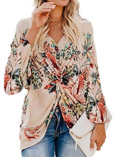 Yoins Crossed Front Design Random Floral Print V-neck Long Sleeves Blouse