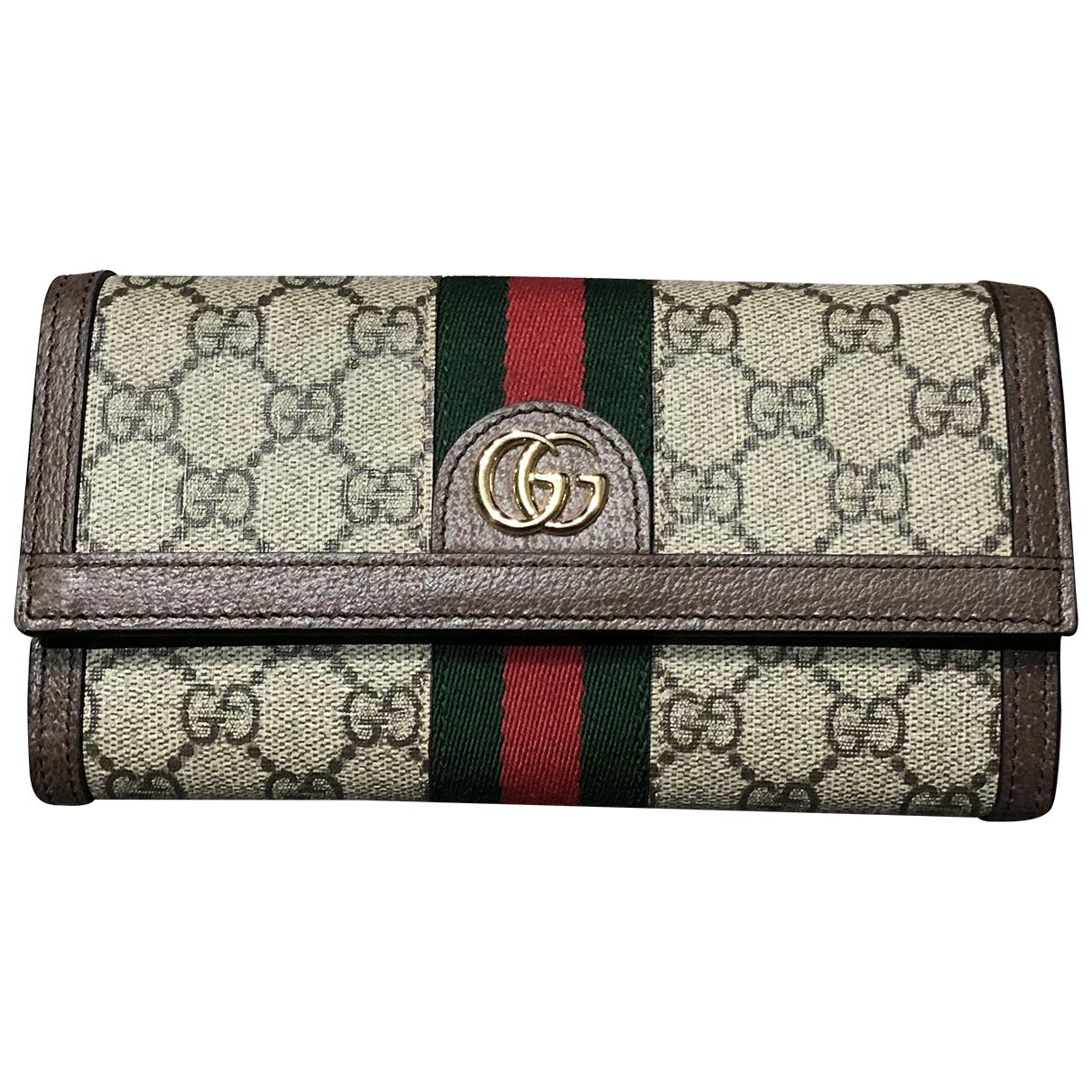 Gucci Ophidia Portemonnaie in  Beige Leinen