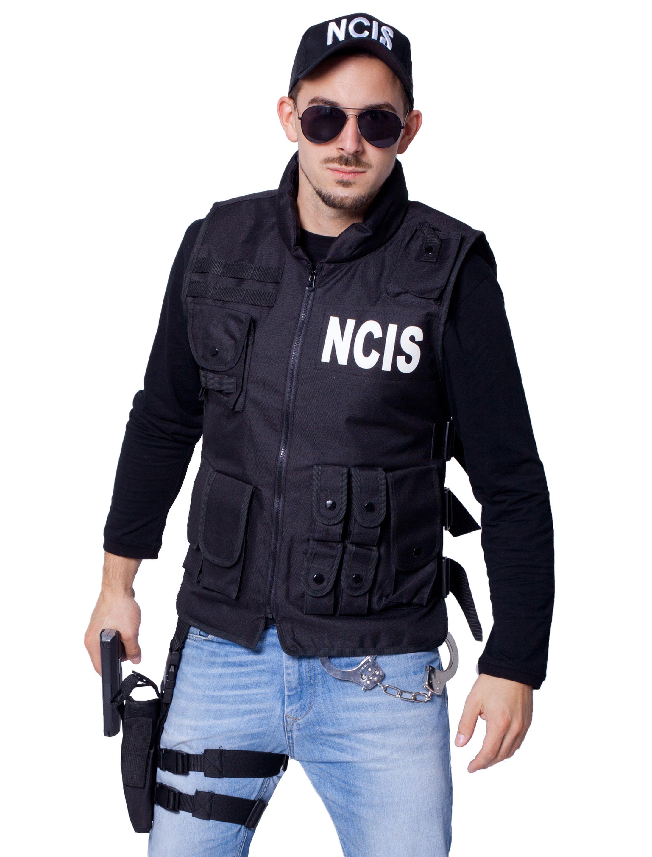 Herren-Kostuem Weste NCIS Herren Grosse: One Size Farbe: schwarz
