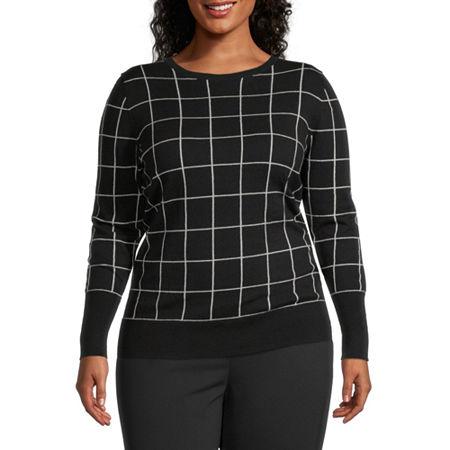 Worthington Womens Long Sleeve Crew Neck Sweater - Plus, 3x , Black