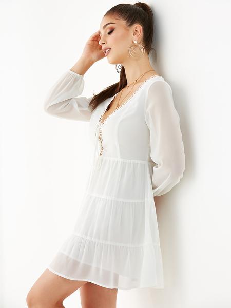 YOINS White Zip Design V Neck Long Sleeves Dress