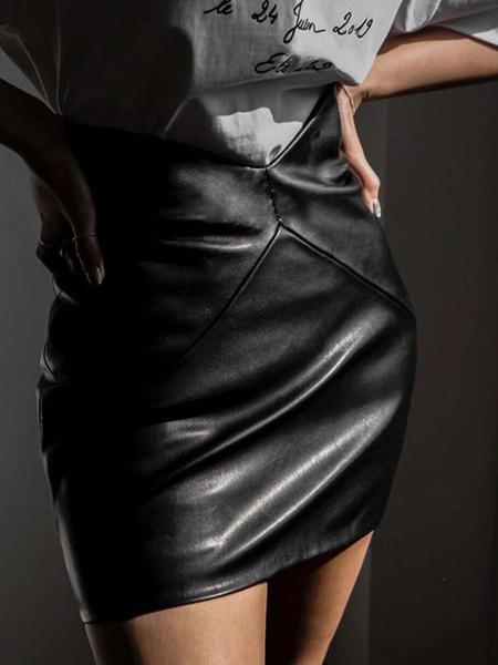 Milanoo Women Skirt White PU Leather Short Autumn And Winter Bottoms