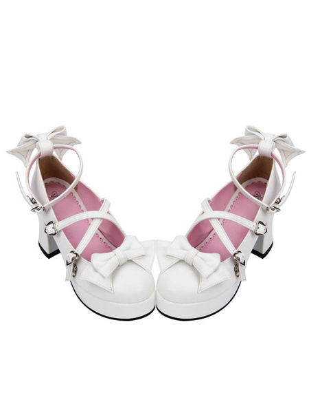 Milanoo Sweet Lolita Shoes White Bow Cross Front Ankle Strap Chunky Heel Lolita Pumps