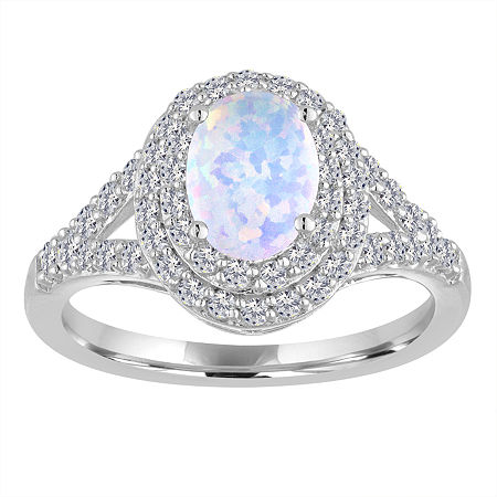 Lab-Created Opal & Lab-Created White Sapphire Double Halo Ring in Sterling Silver, 7 , No Color Family