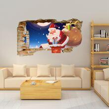 Wandaufkleber mit 3D Weihnachtsmann Muster