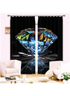 Wonderful Shining Diamond 2 Pieces Decorative Custom 3D Curtain for Living Room