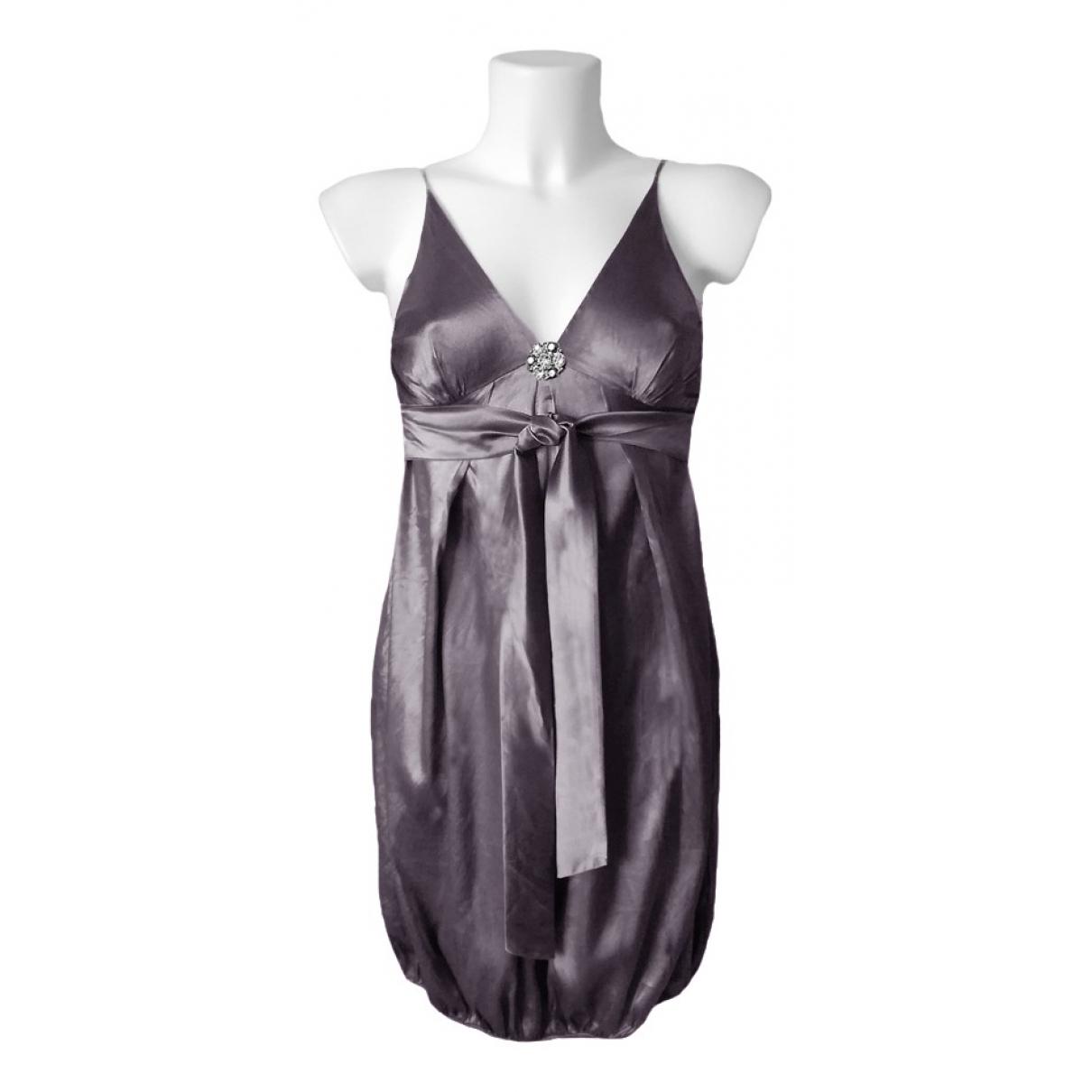 Stefanel \N Kleid in  Grau Seide