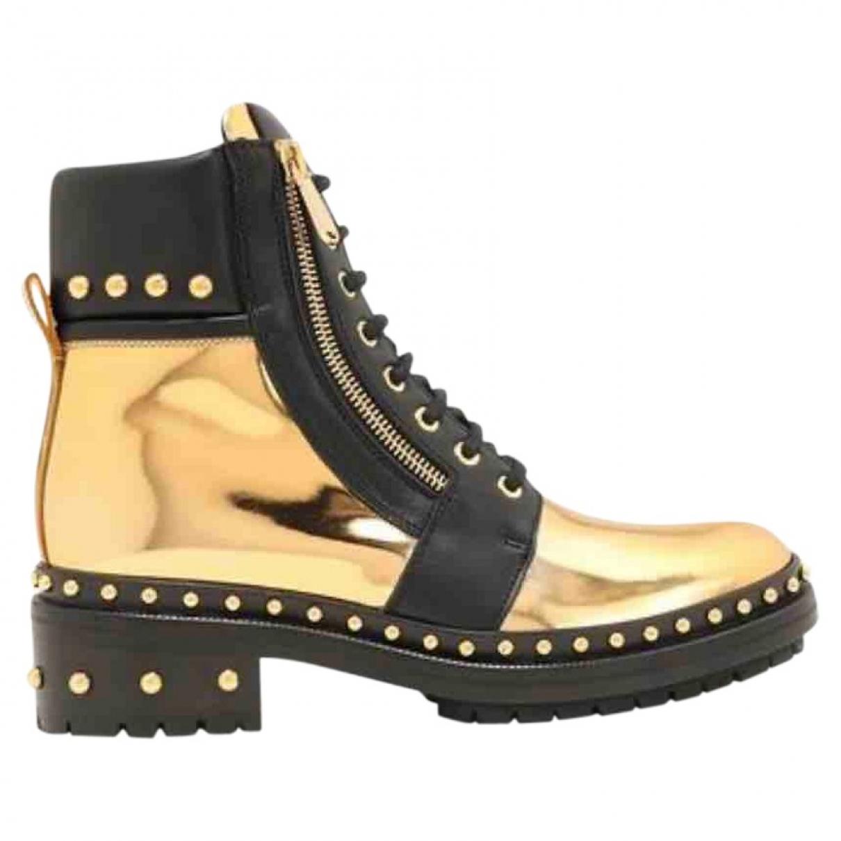 Balmain - Boots   pour femme en cuir - dore