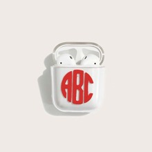 1pc Letter Graphic Clear Airpods Case