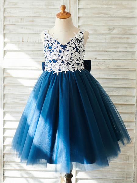 Milanoo Vestidos de niña de flores Arcos Sin mangas Con cuello en v Azul marino oscuro Vestidos de fiesta para niños