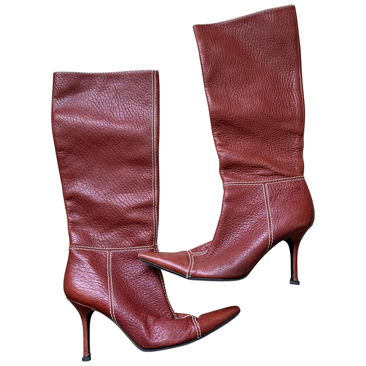 Dolce & Gabbana - Bottes   pour femme en cuir - rouge