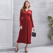 V-neck Button Placket Ruffle Trim Sweater Dress