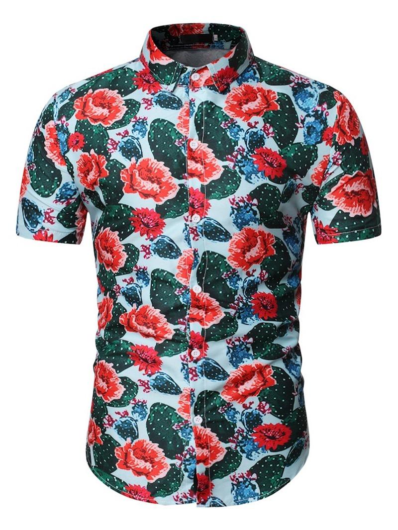 Ericdress Print Men's Slim Shirt