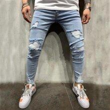 Maenner Schmale Jeans mit Knopfen