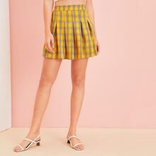 Plaid Elastic Waist Pleated Skirt