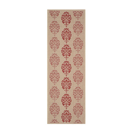 Safavieh Courtyard Collection Ray Floral Indoor/Outdoor Runner Rug, One Size , Red