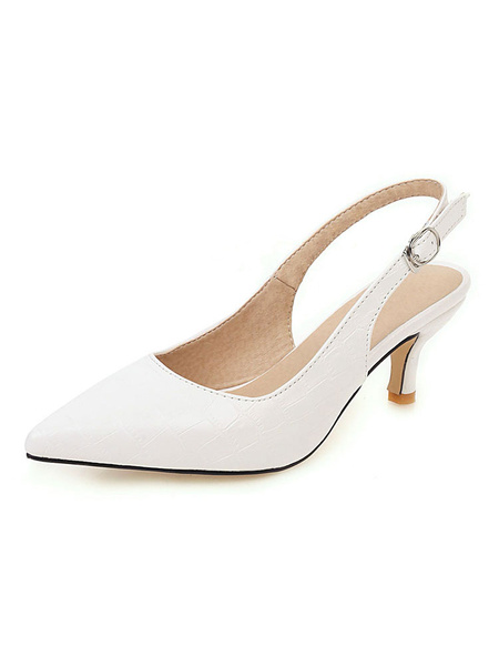 Milanoo Kitten Heel Pumps Yellow Pointed Toe Slingbacks Stiletto Heel Pumps For Women