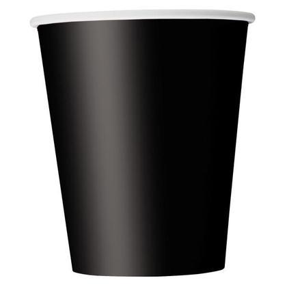 Tasses de papier de Noir solide 9oz 8Pcs