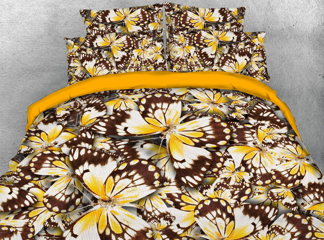Yellow Butterflies 3D 4pcs Animal Durable Bedding Sets No-fading Soft Reactive Printing Zipper Duvet Cover with Ties