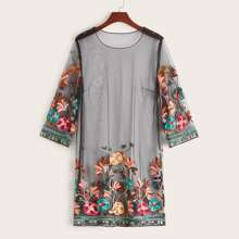 Embroidery Appliques Mesh Tunic Dress