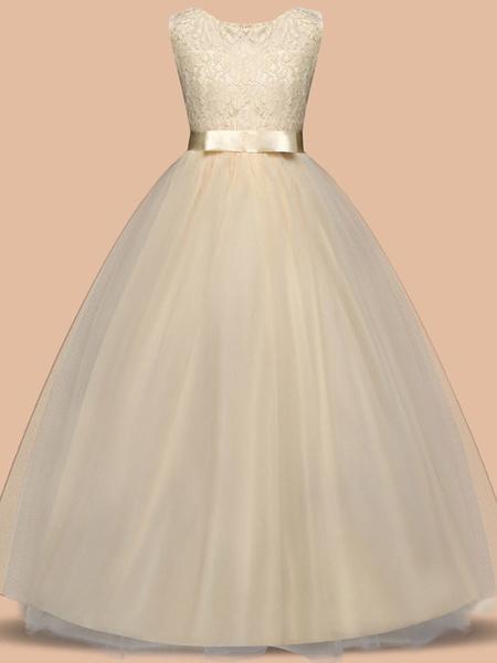 Milanoo Flower Girl Dresses Jewel Neck Sleeveless Floor Length Bows Formal Kids Pageant Party Dresses