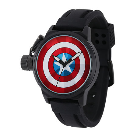 Marvel Captain America Mens Black Silicone Strap Crown Protector Watch, One Size , No Color Family