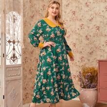 Kleid mit Kontrast Kragen, Manschetten, Knopfen vorn und Blumen Muster