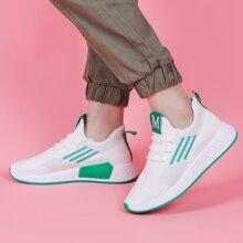 Strick Sneakers mit Band Dekor und Streifen Grafik