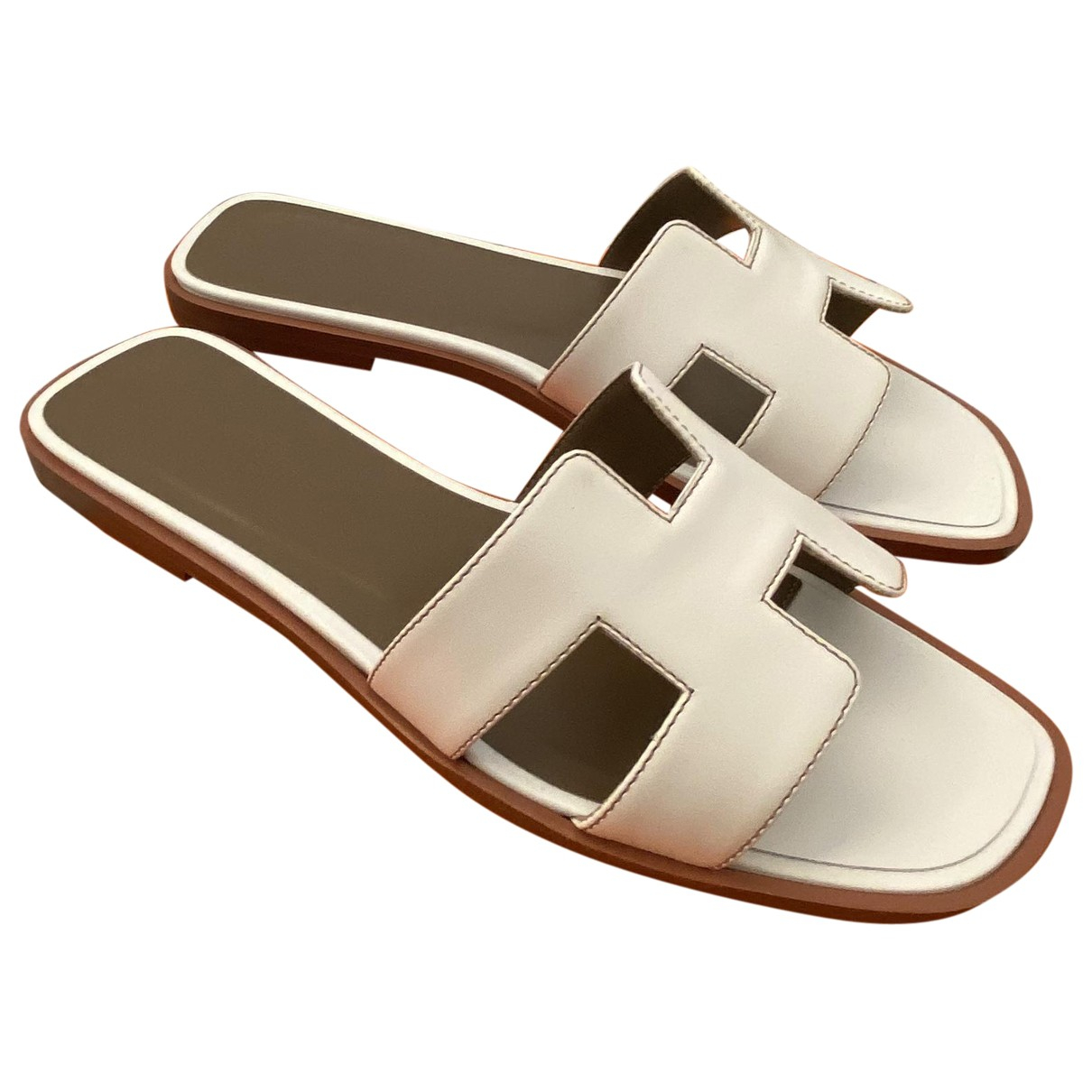 Hermès Oran White Leather Sandals for Women 37 EU