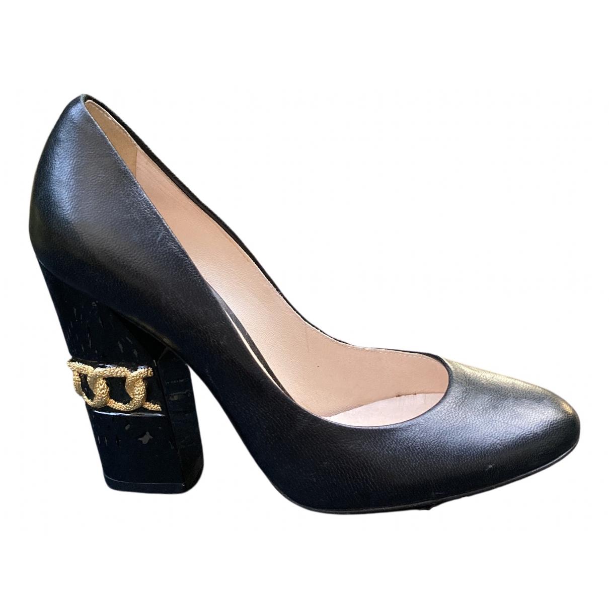 Casadei N Black Leather Heels for Women 5 US