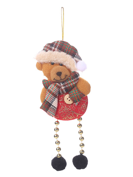 Milanoo Xmas Party Supplies Button Plaid Bead Doll Christmas Costume Decorations