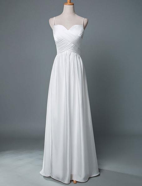 Milanoo Simple Wedding Dress A Line Sweetheart Neck Straps Sleeveless Pleated Bridal Dresses